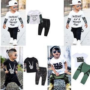 Cool Hip-Hop Baby Boys Infant Fashion Punk T-Shirts Long Pants ... 526be85a138d