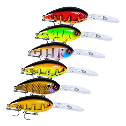 6pcs//Lot Beads 3D Crankbaits Hooks Fishing Lures Crank Bait Tackle 11.5cm//17.5g