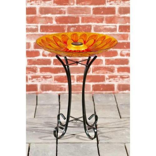 Bird Bath Solar Sunflower Design Glass With Stand - Home / Garden New Adorable