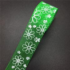 "25mm Wide DIY Printed Organza Ribbon Hair Bow Wedding Craft Sewing #37 5yds 1/"""