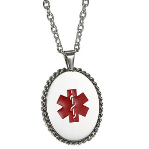 Men-039-s-Womens-Oval-Medical-Alert-ID-Dog-Tag-Necklace-Pendant-Chain-Free-Engraving