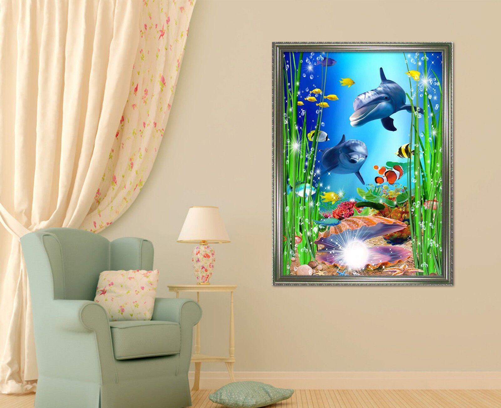 3D Dolphin Seaweed 6 Framed Poster Home Decor Print Painting Art AJ AU