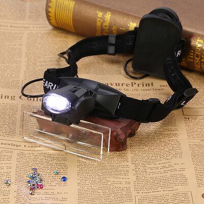 LED Lamp Headset Magnifying Glass Head Light Jeweler Magnifier Loupe Headband