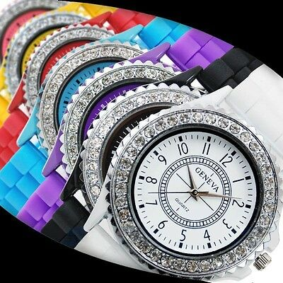 NEW Womens Bling Crystal Silicone Silicon Bracelet Wrist Watch Ladies Girls