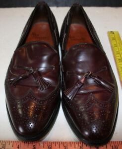 622f8a6f599 Allen Edmonds Vintage Brown Leather Wing Tip Tassel Loafers Men s ...