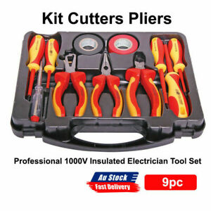 NEW Professional 1000V Insulated Electrician Tool Set 9pc Kit Cutters Pliers
