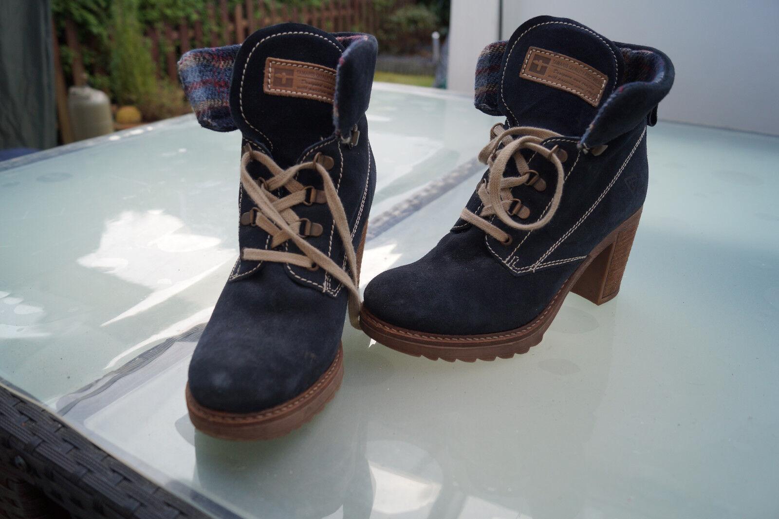 TAMARIS Damen Stiefel Schuhe Stiefel wildleder Stiefelette Absatz Gr.40 wildleder Stiefel marine #67 e26293