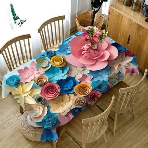 3D Creative Paper Flowers Tablecloth Rectangular Table Cover Cloth Home Decor