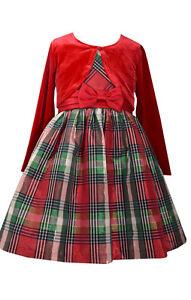 image is loading bonnie jean girls plaid taffeta holiday christmas dress - Girls Plaid Christmas Dress