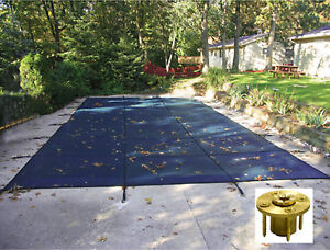 Rectangle Blue Mesh Safety Pool Cover W Wood Deck Anchors 12 Year Warranty Ebay