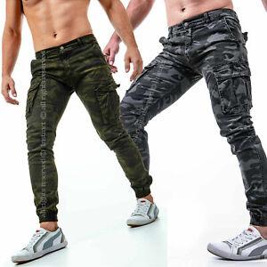 Pantaloni-uomo-cargo-militari-con-tasche-laterali-mimetici-esercito-combat-jeans