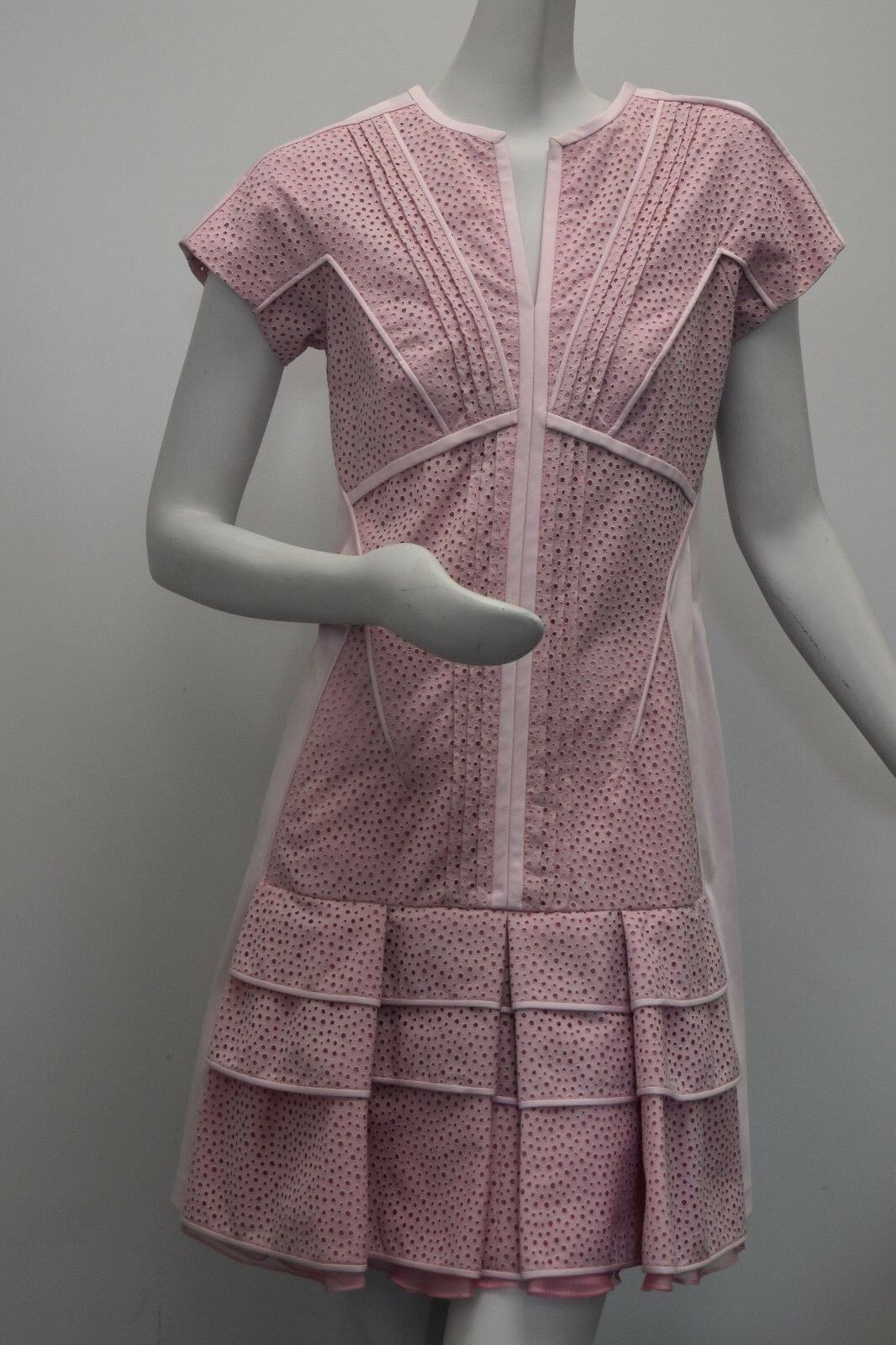 3190 NEW EXQUISITE J. MENDEL Eyelet Pale Pink COTTON Dress Ruffle 8
