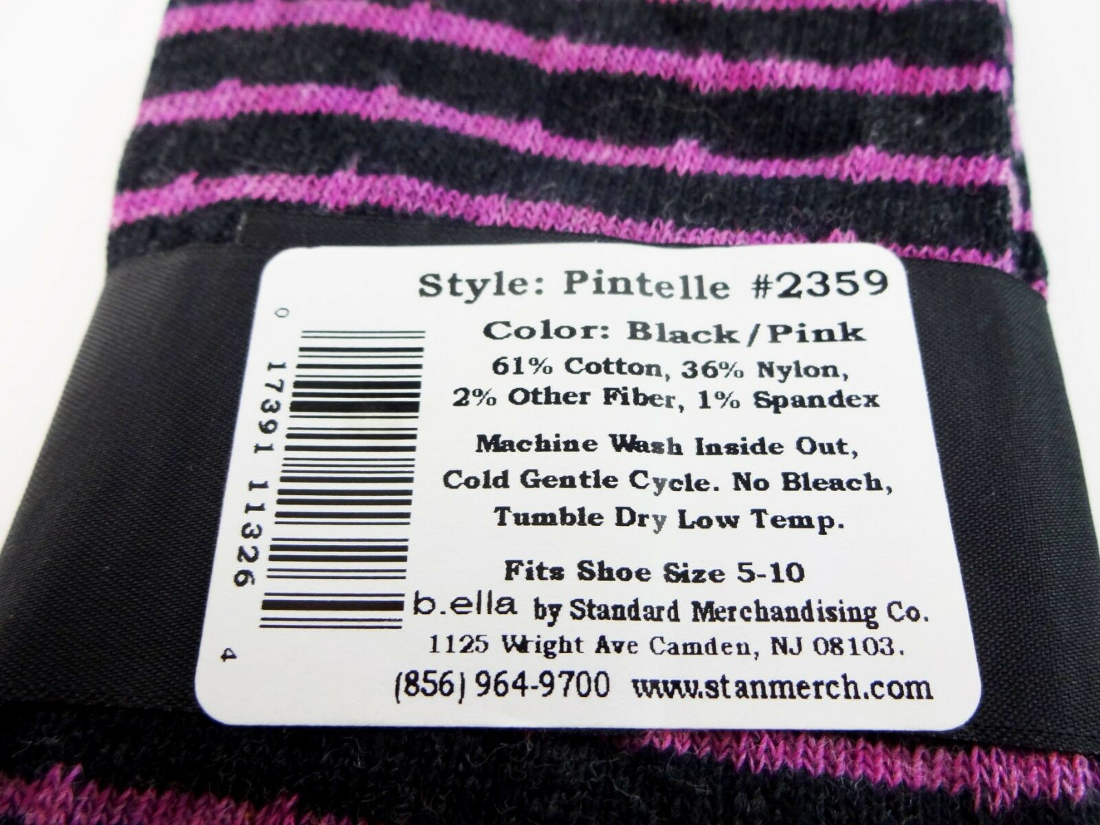 Purple White Socks Ladies Crew Length Hosiery Sizes 9 to 11 B.ella Larissa