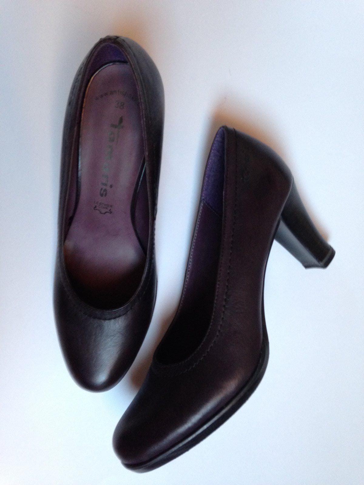 TAMARIS Damenschuhe Pumps Bordeaux Echtleder Bordeaux Pumps Violett 38 AntiShok Absatz 8 cm b57ef0