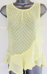 NEW-NEW-LOOK-14-yellow-spot-frill-sheer-chiffon-longline-sleeveless-tunic-top