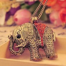 New Charm Fashion Crystal Elephants Pendant Sweater Chain Necklace Jewelry