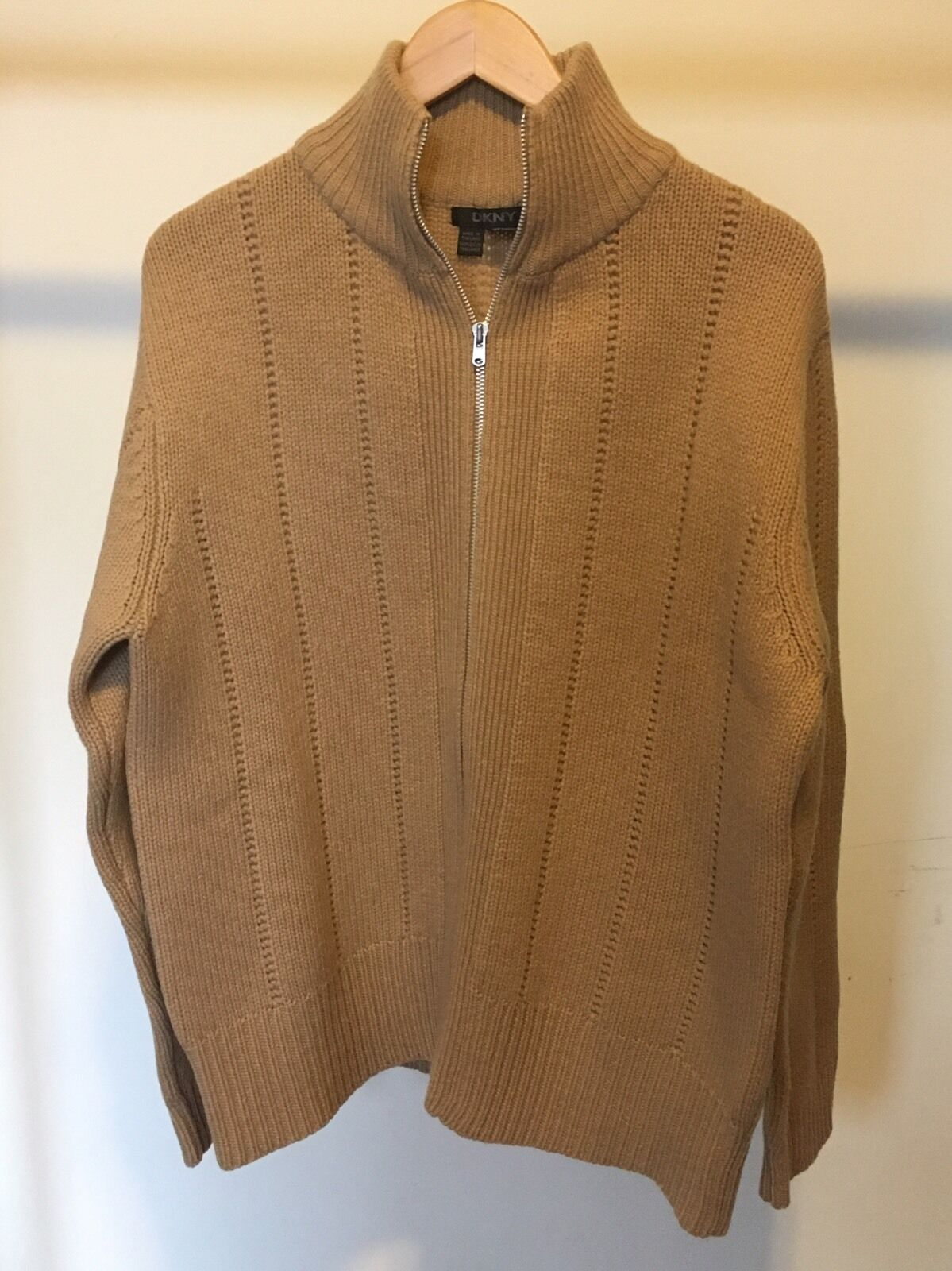 DKNY Men's Camel Lambswool Sweater