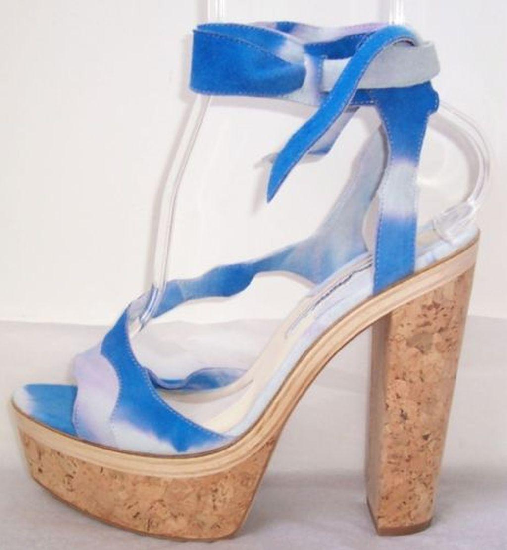 BRIAN ATWOOD bleu Tie Dye Suede Cork Platform Sandals chaussures chaussures chaussures 37 7 7962ed