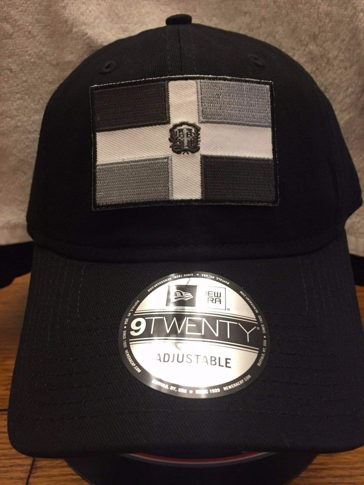 New Grey Era NE201 Black Unstructured Cap Dad Hat w/ Grey New Dominican Republic DR Flag 96c12d