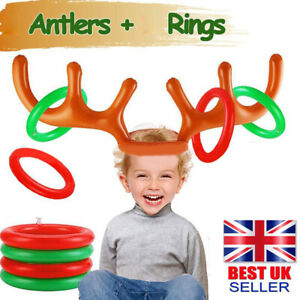 Inflatable Reindeer Antler Hat Toss Rings Xmas Gift Holiday Party Game Moose Toy