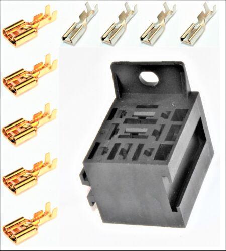 Kfz Relais 5 x 6,3mm; 4 x 2,8mm Flachsteckhülsen Relaissockel Mini 1 Sockel f
