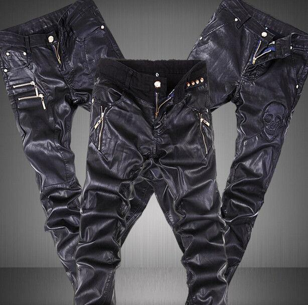 Motorcycle Biker Men's Faux Leather Slim Skinny Pants Casual Trousers Punk Pants