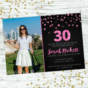 30TH-BIRTHDAY-INVITATIONS-AGE-THIRTY-PERSONALISED-PARTY-SUPPLIES-INVITE-PINK