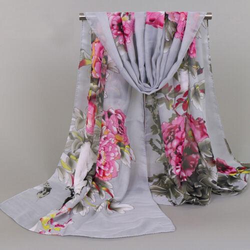 Vintage Women/'s Chiffon Long Wrap Shawl Scarf Peony Floral Print Scarves Stole