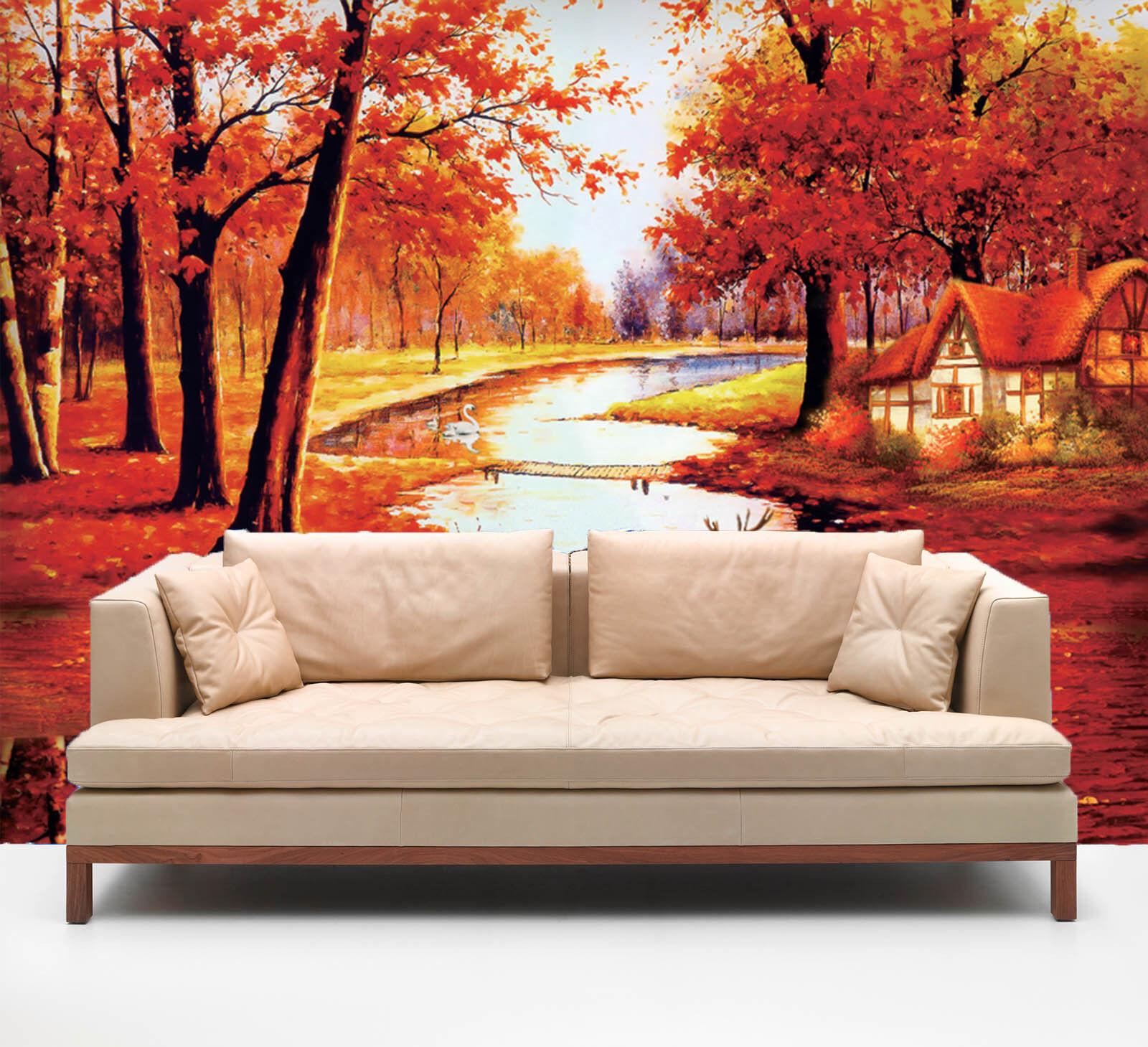 3D Orange Scenery 618 WallPaper Murals Wall Print Decal Wall Deco AJ WALLPAPER