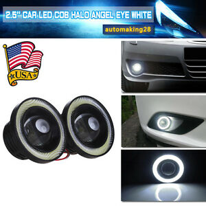 2X-2-5-034-Inch-Car-Projector-LED-Fog-Light-COB-Halo-Angel-Eye-Ring-Bulb-White-USA
