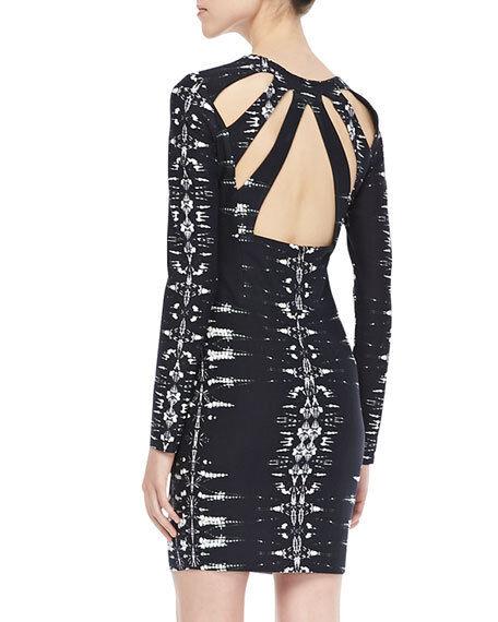 New  PARKER Mariel Psych back Cutout XS schwarz Weiß print Fitted Mini Dress