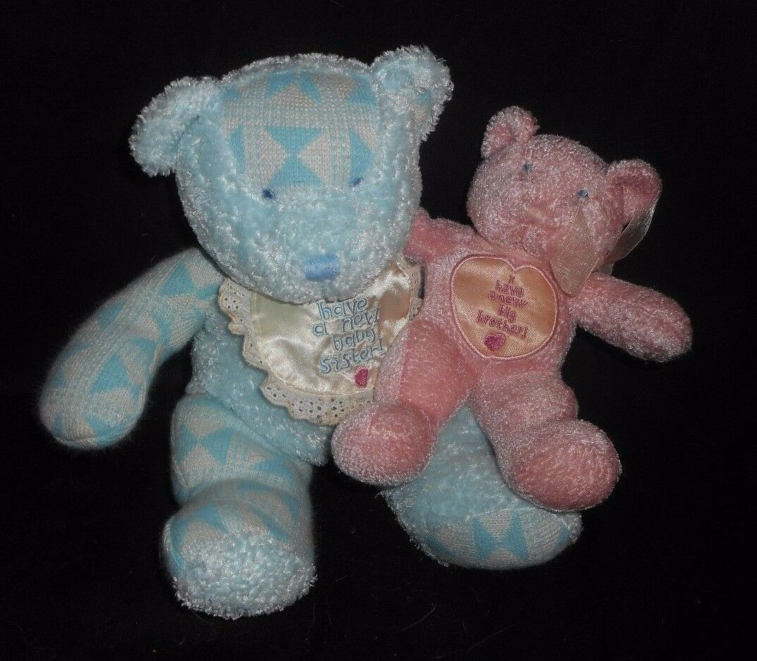 2000 ENESCO blueE BredHER PINK SISTER TEDDY BEAR RATTLE STUFFED ANIMAL PLUSH TOY
