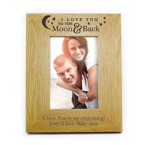 I LOVE personnalisé vous vers la lune et retour 6 x 4 bois photo Photo Frame