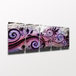 Image Is Loading Large Metal Wall Art Modern Abstract Sculpture Purple