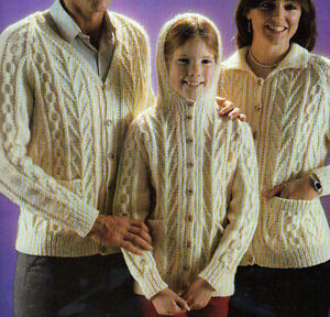 KNITTING PATTERN MENS LADYS BOY GIRL ARAN 3x NECKS CARDIGAN 30 32 34 36 38 40...