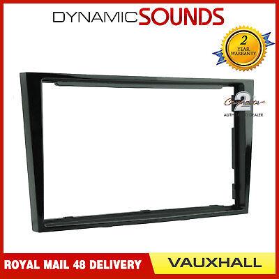CT24VX18 Double Din Radio Facia Bezel Vauxhall Corsa D 06 on Piano Black