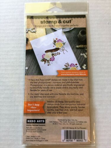 Hero Arts Clear Stamp /& Cut Flowers /& Banner Thin Metal Die Cut Set DC130 NEW
