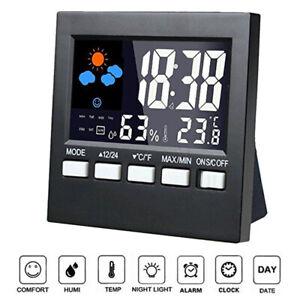 Digital-Luftfeuchtigkeit-LCD-Uhr-Thermometer-Temperatur-Messgeraet-Hygrometer-Indoor