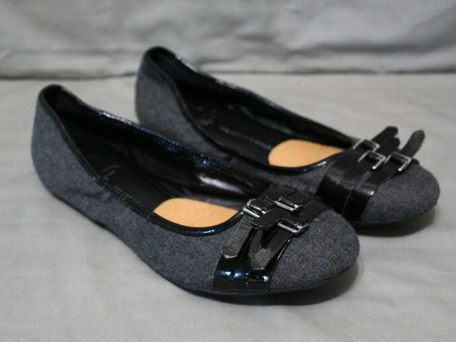 FRANCO womens slip on flats charcoal fabric A-ARIANA ballet shoes size 9.5 Med