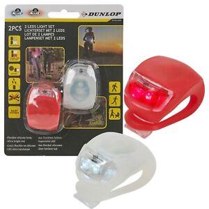 Dunlop-2-LED-Silicone-Bike-Stroller-Walking-Jogging-Sports-Red-White-Push-Lights