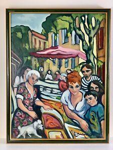 """Sublime Huile sur toile """"Scène de marché estival"""" signée Roselyne ROSSO BRUNO"""