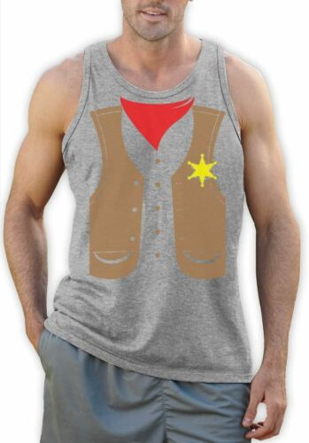Sheriff Cowboy Suit Halloween Easy Costume Funny Party Shirt Singlet Sleeveless