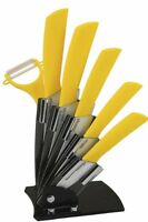 Melange 7-piece Ceramic Knife Set With Yellow Handle And White Blade, Includes 6 on sale