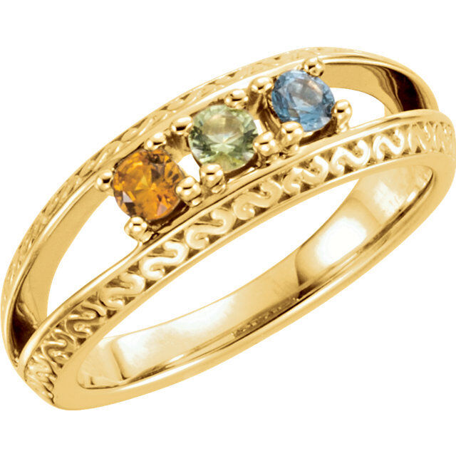 10K or 14K Solid gold Mother's Ring 1 to 5 Birthstones, Family Jewelry Ring