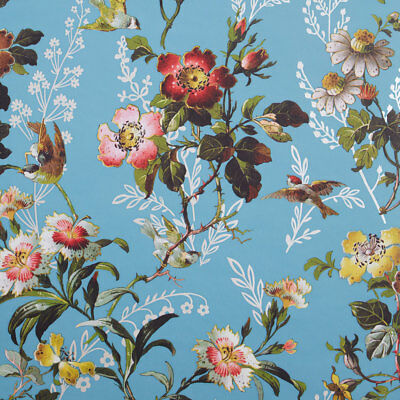 Blue Vibrant Trailing Flowers Floral Wallpaper with Garden Birds - 10m Roll