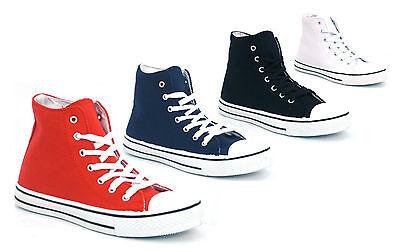 Para Mujer Damas Lona Encajes Plimsoll zapatos planos zapatillas Trainer Hi Tops Tamaño