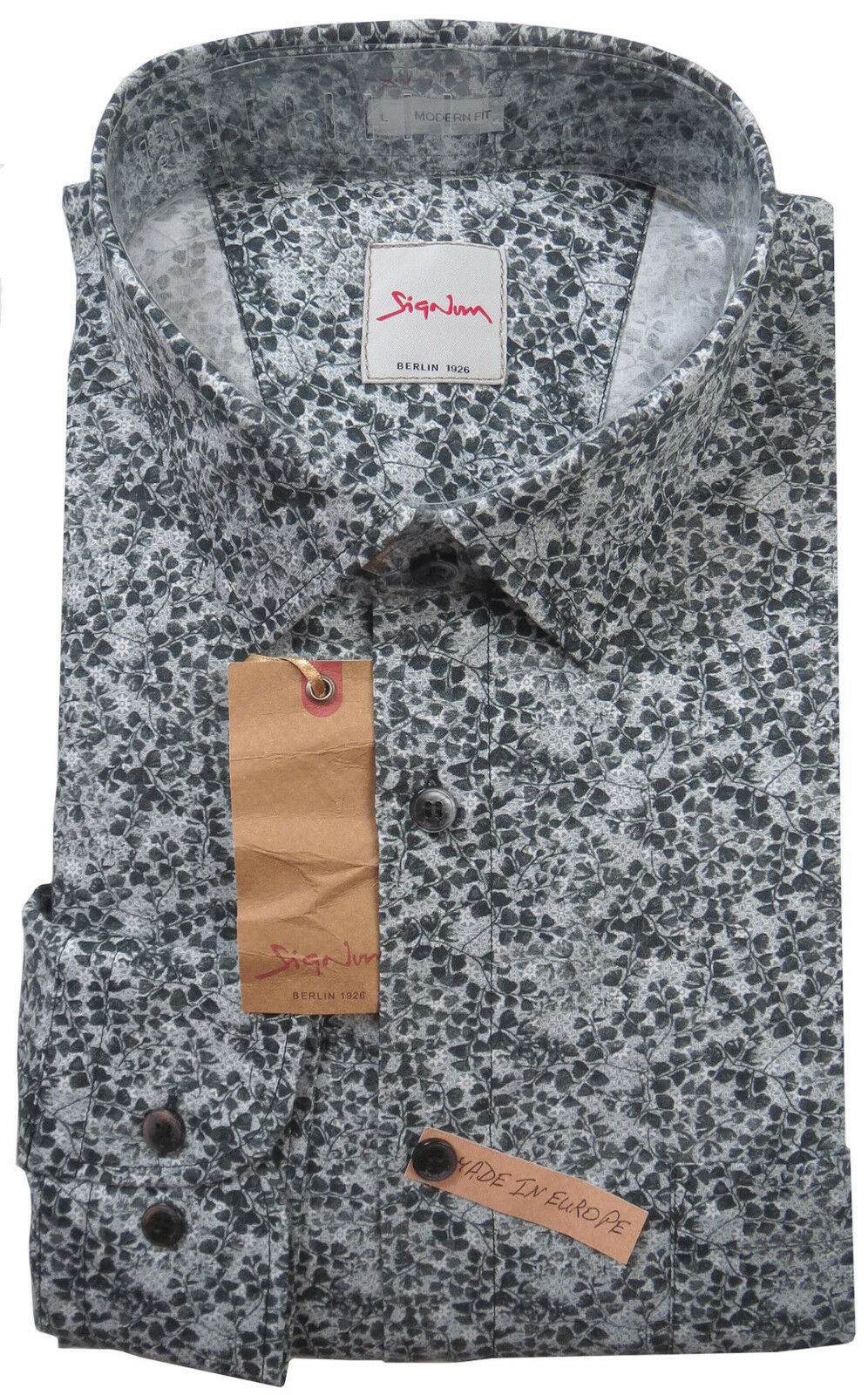 SIGNUM Camicia Manica Lunga Modern Fit NUOVO L Cotone OFFERTA SPECIALE s1.1070