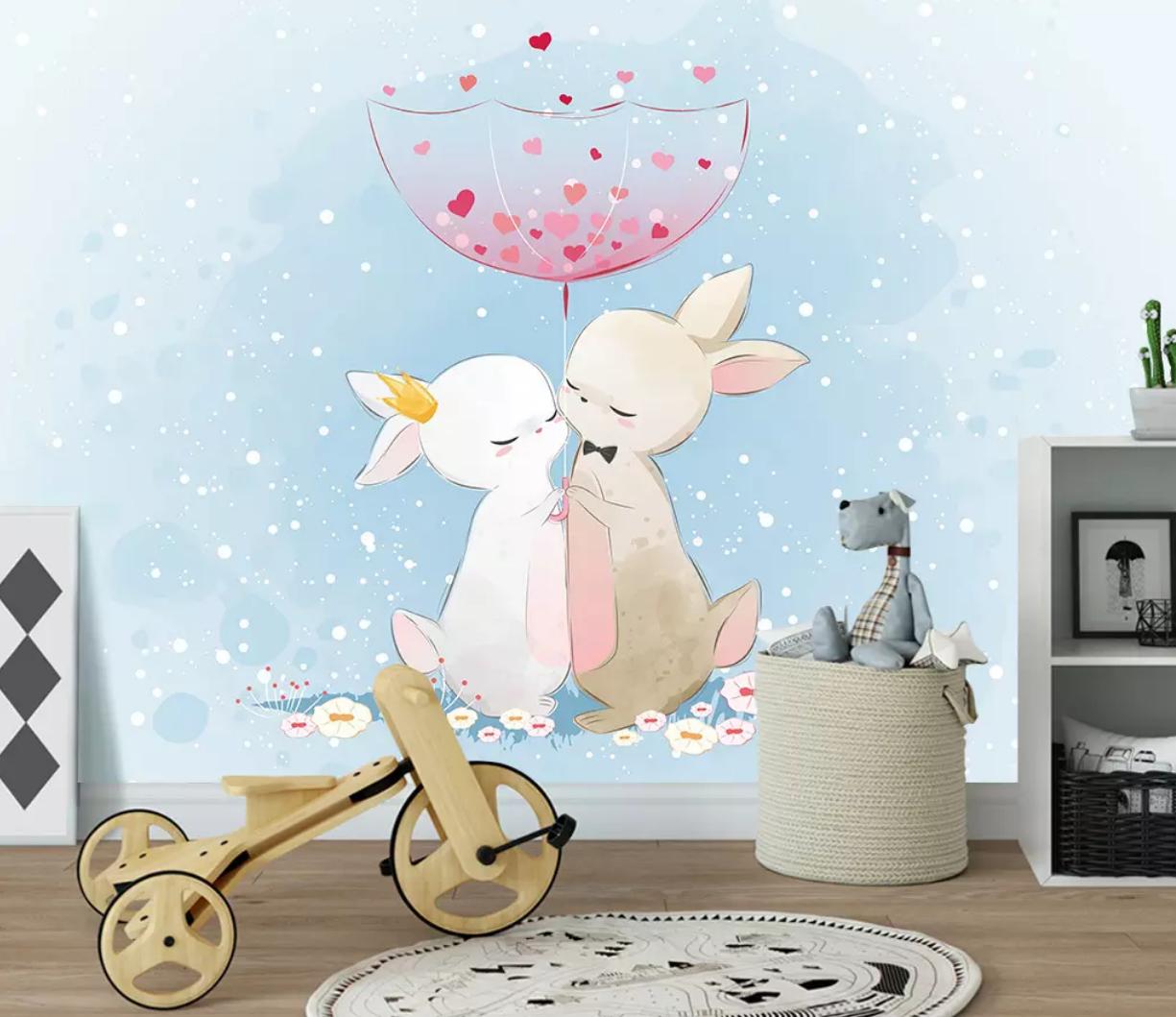 3D Loving Rabbit I2582 Wallpaper Mural Sefl-adhesive Removable Sticker Wendy