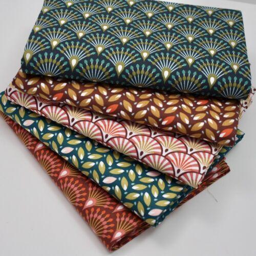 FQ Bundle Deco Prints x 5 Fat Quarter Cotton Fabric Patchwork Quilting