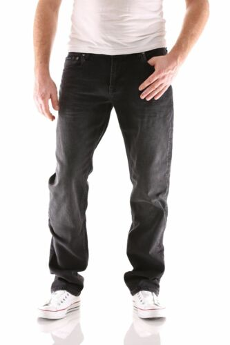 Big Seven Stanley Black Wash Regular Jeans Uomo Pantaloni Nuovo